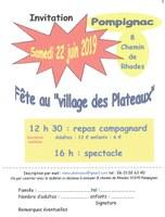 """Samedi 22 juin, Fête au """"Village des Plateaux"""" à Pompignac"""